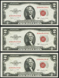 Small Size:Legal Tender Notes, Fr. 1511 $2 1953B Legal Tender Notes. Three Examples. Choice CrispUncirculated or Better.. ... (Total: 3 notes)