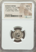Ancients:Roman Imperial, Ancients: Elagabalus (AD 218-222). AR denarius (19mm, 2.94 gm, 5h).NGC MS★ 5/5 - 5/5....