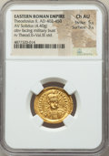 Ancients:Roman Imperial, Ancients: Theodosius II, Eastern Roman Empire (AD 402-450). AVsolidus (22mm, 4.40 gm, 6h). NGC Choice AU 5/5 - 3/5....