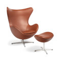 Furniture , Arne Jacobsen (Danish, 1902-1971). Egg Chair and Ottoman, circa 1958, Fritz Hansen. Leather, aluminum. 41-1/2 x 32 x 31 ...