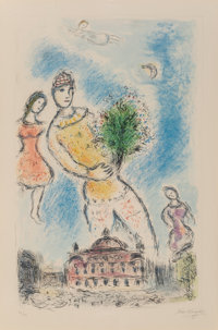Marc Chagall (1887-1985) In the Sky of the Opera, 1980 Lithograph in colors on Arches paper 37-5/