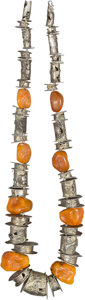 "Jewelry:Necklaces, Imogene ""Tex"" Gieling (American, b. 1923). Silver and Amber Necklace. Silver, amber. 22 inches (55.9 cm). ..."