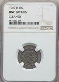 Barber Dimes, 1909-D 10C -- Cleaned -- NGC Details. Unc. NGC Census: (0/64). PCGS Population: (1/79). CDN: $400 Whsle. Bid for problem-fr...