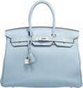 "Luxury Accessories:Bags, Hermès 35cm Ciel Togo Leather Birkin Bag with Palladium Hardware. K Square, 2007. Condition: 2. 14"" Width x 10"" He..."