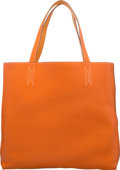 """Luxury Accessories:Bags, Hermès 45cm Orange H Togo Leather & Moutarde Clemence Leather Double Sens Tote Bag. Condition: 2. 17"""" Width x 14"""" Heig..."""