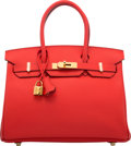 "Luxury Accessories:Bags, Hermès 30cm Rouge Tomate Epsom Leather Birkin Bag with Gold Hardware. X, 2016. Condition: 1. 12"" Width x 8"" Height..."