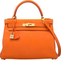 """Luxury Accessories:Bags, Hermès 28cm Orange H Swift Leather Retourne Kelly Bag with Gold Hardware. A Square, 1997. Condition: 3. 11"""" Width ..."""