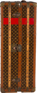 """Luxury Accessories:Travel/Trunks, Louis Vuitton Painted Monogram Coated Canvas Vertical Steamer Trunk. Condition: 4. 22"""" Width x 44"""" Height x 18"""" Depth..."""