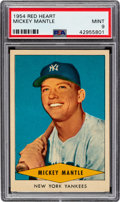 Baseball Cards:Singles (1950-1959), 1954 Red Heart Mickey Mantle PSA Mint 9 - Only Two Higher. ...