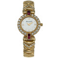 Estate Jewelry:Watches, Swiss Lady's Diamond, Ruby, Mother-of-Pearl, Gold Watch . ...