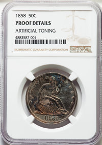 1858 50C -- Artificial Toning -- NGC Details. Proof. NGC Census: (0). PCGS Population: (0). Mintage 100....(PCGS# 6412)