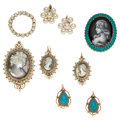 Estate Jewelry:Lots, Multi-Stone, Cultured Pearl, Limoges, Gold Jewelry. ... (Total: 6 Items)