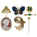 Estate Jewelry:Brooches - Pins, Diamond, South Sea Cultured Pearl, Multi-Stone, Shell, Gold, Metal Brooches . ... (Total: 7 Items)