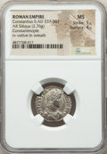 Ancients:Roman Imperial, Ancients: Constantius II, as Augustus (AD 337-361). AR reducedsiliqua (21mm, 2.76 gm, 6h). NGC MS 5/5 - 4/5....