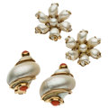 Estate Jewelry:Earrings, Coral, Turbo Shell, Freshwater Cultured Pearl, Gold Earrings . ... (Total: 2 Items)