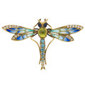 Estate Jewelry:Brooches - Pins, Diamond, Multi-Stone, Plique-a-Jour Enamel, Gold Brooch. ...