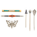 Estate Jewelry:Brooches - Pins, Diamond, Multi-Stone, Cultured Pearl, Platinum, Platinum-Topped Gold, Gold, Base Metal Brooches. ... (Total: 6 Items)