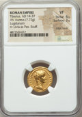 Ancients:Roman Imperial, Ancients: Tiberius (AD 14-37). AV aureus (18mm, 7.72 gm, 7h). NGCVF 4/5 - 3/5, edge marks, scuff....