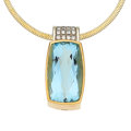 Estate Jewelry:Pendants and Lockets, Aquamarine, Diamond, Gold Pendant-Necklace . ...