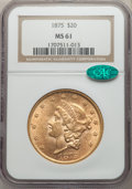 Liberty Double Eagles, 1875 $20 MS61 NGC. CAC....