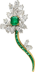Estate Jewelry:Brooches - Pins, Colombian Emerald, Diamond, Platinum, Gold Brooch