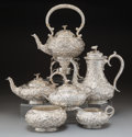 Silver & Vertu:Hollowware, A Six-Piece S. Kirk & Son Repoussé Silver Tea and Coffee Service, Baltimore, Maryland, 1880-1890. Marks: S. KIRK & · SON, ... (Total: 6 )