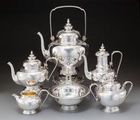 A Six-Piece Odiot Partial Gilt and Silver Tea and Coffee Service MAKER, Paris, 1838-1894 Marks to urn: (O over