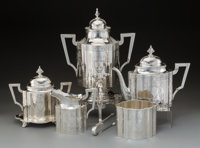 A William Gale Jr. Silver Tea Service, New York, 1866 Marks to urn: WM. GALE JR. SILVERSMITH, 572 & 574 B. WAY