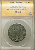 Ancients:Roman Imperial, Ancients: Claudius I (AD 41-54). AE dupondius (30mm, 6h). ANACS XF45....