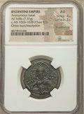 Ancients:Byzantine, Ancients: Anonymous. Class A3. Time of Basil II-Constantine VIII(ca. AD 1020-1028). AE follis (26mm, 7.31 gm, 6h). NGC AU 4/5 -3/5, lt...