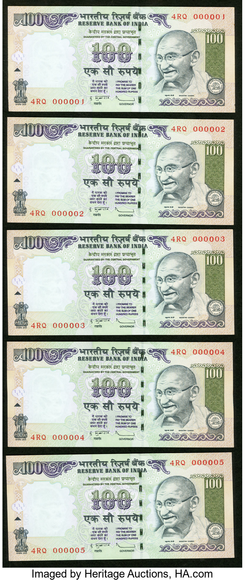 Rs 100// Latest Issue Very Low Serial Number 000006 GEM UNC
