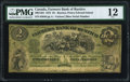 Canadian Currency, Rustico, PEI- Farmer's Bank of Rustico $2 2.1.1872 Ch.# 290-12-04 PMG Fine 12.. ...