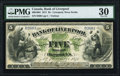 Canadian Currency, Liverpool, NS- Bank of Liverpool 5 Dollars 1.12.1871 Ch.# 400-10-04PMG Very Fine 30.. ...