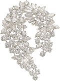 Estate Jewelry:Brooches - Pins, Diamond, Platinum Brooch The brooch features f...