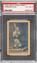 Baseball Cards:Singles (1930-1939), 1933 Uncle Jacks Candy Chuck Klein PSA VG-EX 4 - Pop Two, NoneHigher. ...