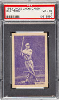 Baseball Cards:Singles (1930-1939), 1933 Uncle Jacks Candy Bill Terry PSA VG-EX 4 - The Only PSA GradedExample! ...