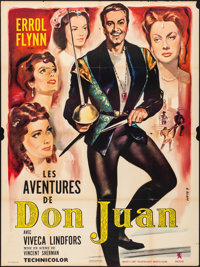 "The Adventures of Don Juan (Prodis, R-1960s). Folded, Fine+. French Grande (47"" X 63"") Georges Allard Artwork..."