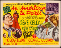 "An American in Paris (MGM, 1951). Folded, Fine/Very Fine. Half Sheet (22"" X 28"") Style B. Musical"