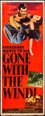 "Gone with the Wind (MGM, R-1947). Folded, Fine+. Insert (14"" X 36""). Academy Award Winners"