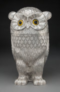 Silver & Vertu, A Silver Owl-Form Champagne Cooler, late 20th century. Marks: 925. 15 x 8-1/2 x 9-1/4 inches (38.1 x 21.6 x 23.5 cm). 91...