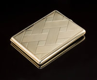 A Continental 18K Gold Cigarette Case, circa 1900 Marks: (undeciphered) 4-1/8 x 3 x 1/4 inches (10.5 x 7.6 x 0