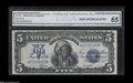 Large Size:Silver Certificates, Fr. 280 $5 1899 Silver Certificate CGA Gem Uncirculated 65....