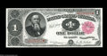Large Size:Treasury Notes, Fr. 349 $1 1890 Treasury Note Superb Gem New....