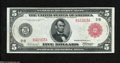 Fr. 833a $5 1914 Red Seal Federal Reserve Note Gem New. A gorgeous Red Seal Five with deep original embossing, near perf...