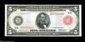 """Fr. 833a $5 1914 Red Seal Federal Reserve Note Choice About New. This """"a"""" type New York Red Seal Five Fed is f..."""
