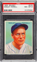 Baseball Cards:Singles (1930-1939), 1933 Goudey Wesley Ferrell #218 PSA NM-MT 8 - Only One Higher....
