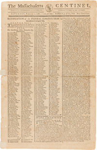 United States Constitution: A Rare and Important February 9, 1788 First Reporting of the Ratification by Massachusetts.&...