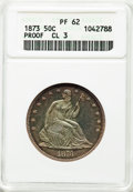 Proof Seated Half Dollars, 1873 50C No Arrows, Closed 3, PR62 ANACS. NGC Census: (27/99). PCGS Population: (45/122). CDN: $775 Whsle. Bid for problem-...