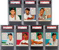Baseball Cards:Lots, 1952 Red Man PSA-Graded Collection (7) with Ted Williams. ...