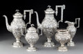 Silver & Vertu, A Five-Piece A.G. Schultz & Co. Silver Floral Chased Repoussé Coffee and Tea Service, Baltimore, Maryland, circa 1900. M... (Total: 5 )